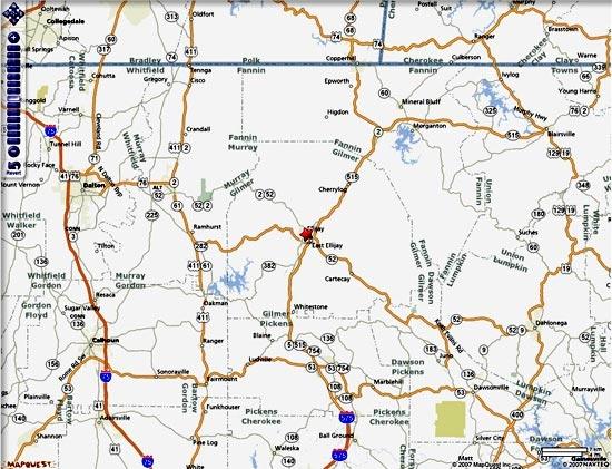 North Georgia Towns Area Shadetree Realty Ellijay Georgia - Mapquest georgia